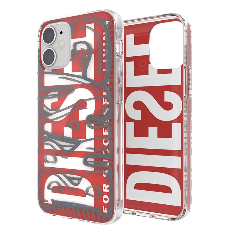 Diesel Snap Case Clear iPhone 12 Mini 5.4 clear red white 06