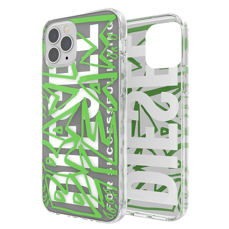 Diesel Snap Case Clear iPhone 12 / 12 Pro 6.1 green white 07