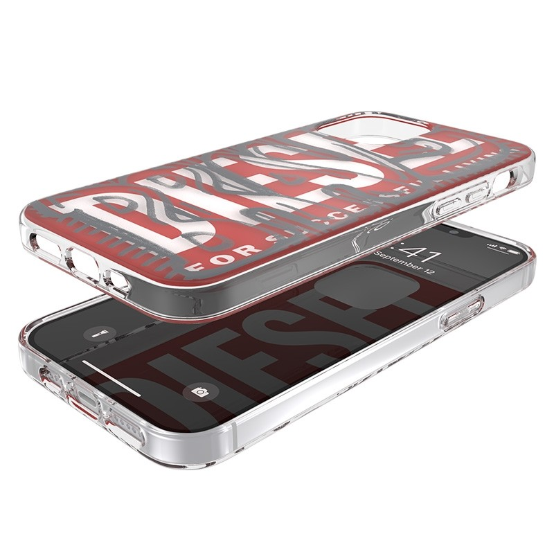 Diesel Snap Case Clear iPhone 12 / 12 Pro 6.1 clear red white 06