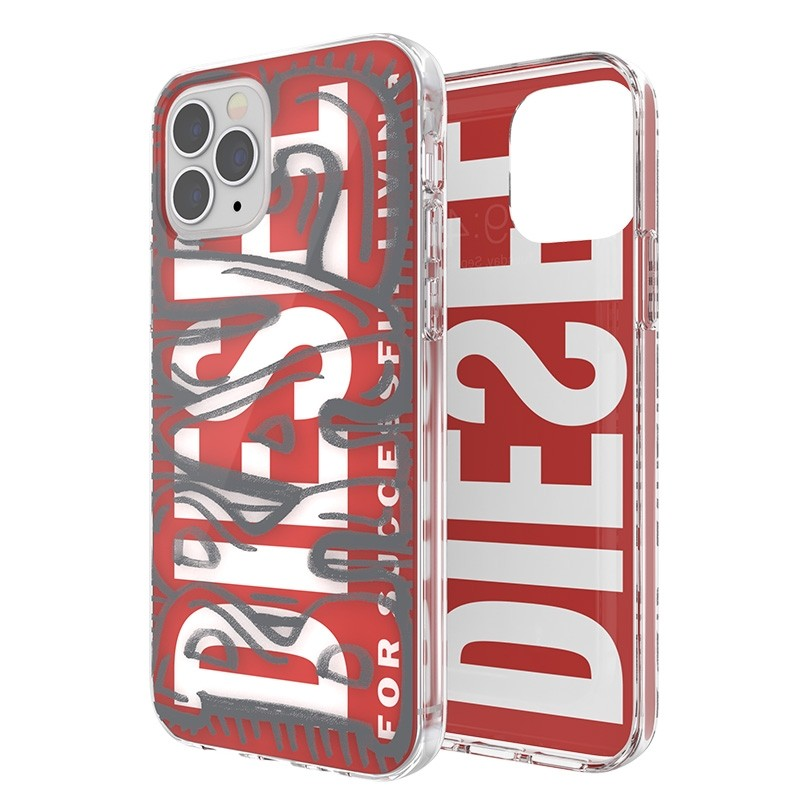 Diesel Snap Case Clear iPhone 12 / 12 Pro 6.1 clear red white 07
