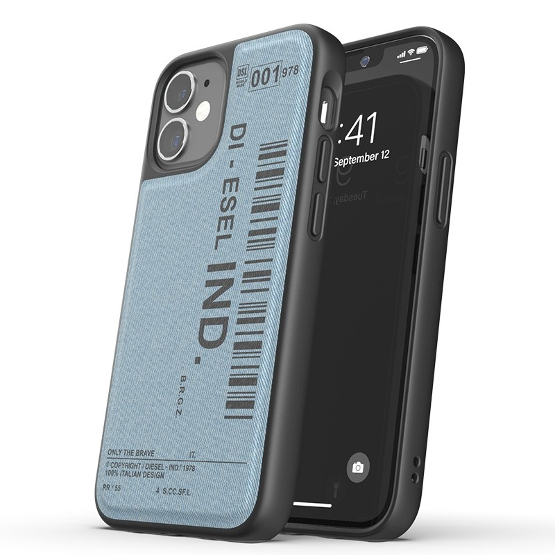 Diesel Moulded Case iPhone 12 Mini blauw/zwart barcode 01