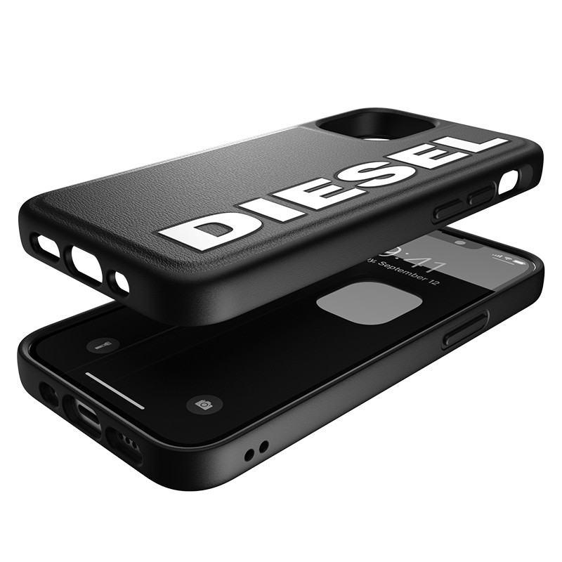 Diesel Moulded Case iPhone 12 Mini zwart/wit logo 07