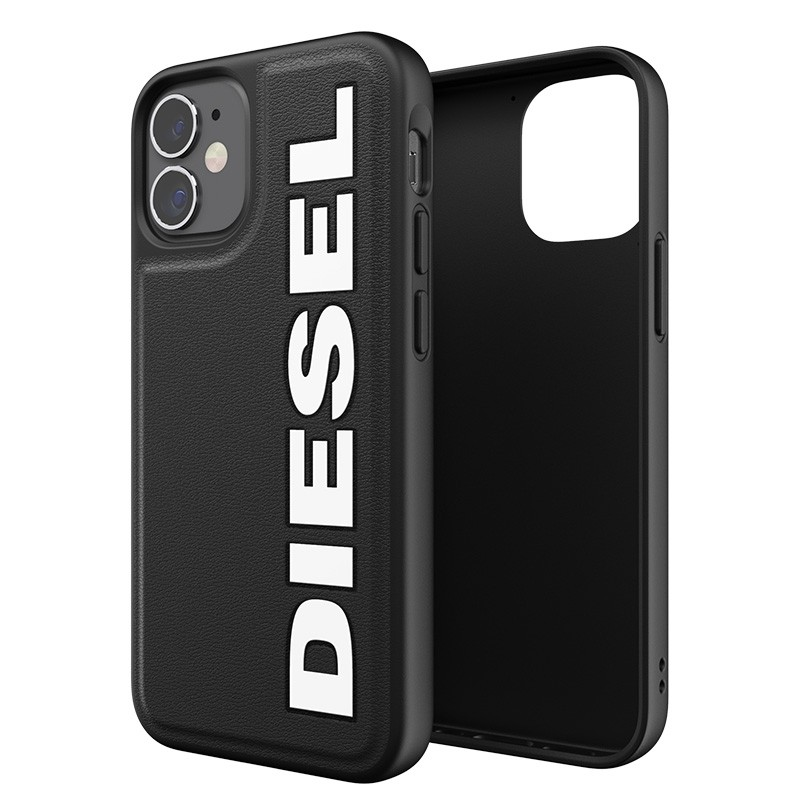 Diesel Moulded Case iPhone 12 Mini zwart/wit logo 03