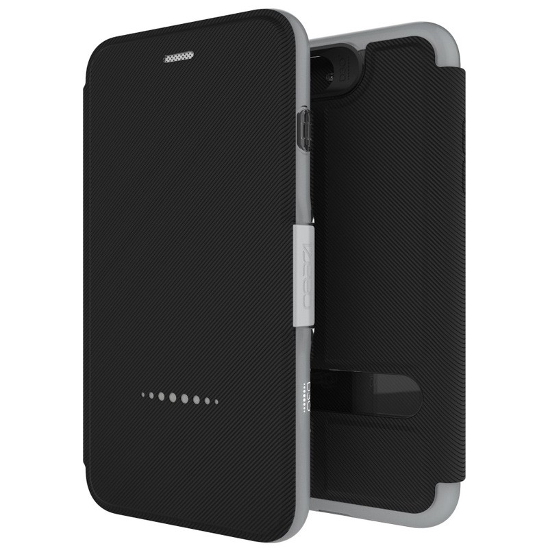 Gear4 Oxford Book Case iPhone 7 Black/Silver - 1