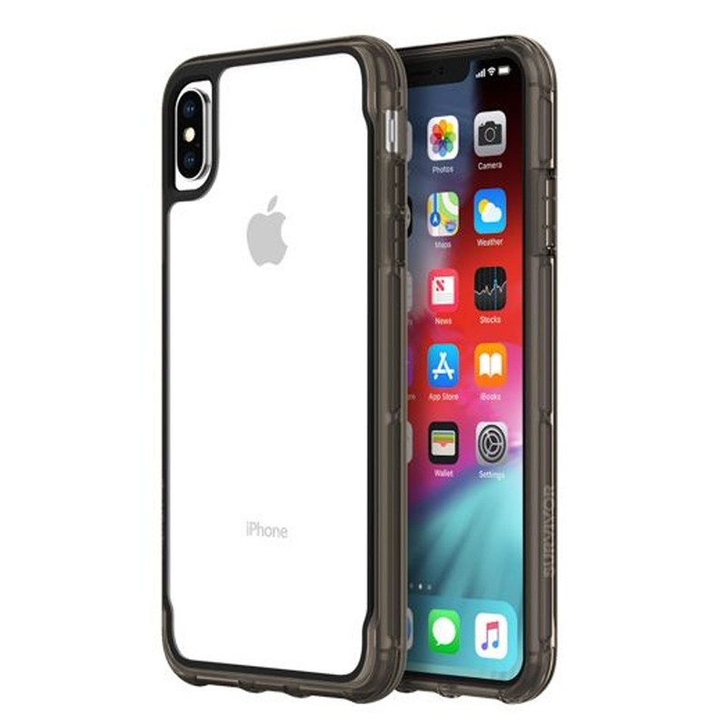 Griffin Survivor Clear iPhone XS Max Hoes Zwart Transparant 04