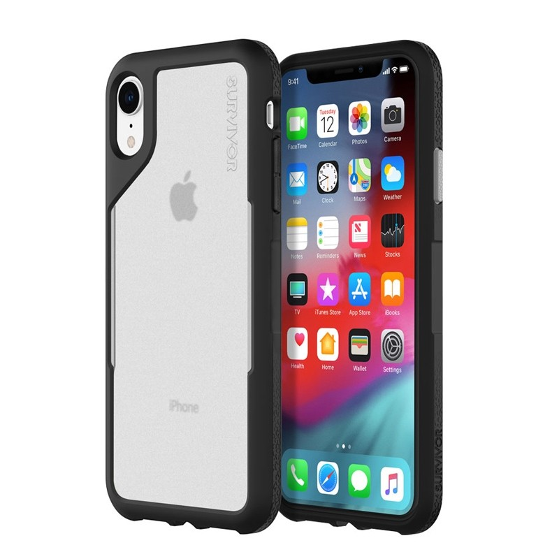 Griffin Survivor Endurance iPhone XR Case Zwart Grijs 01