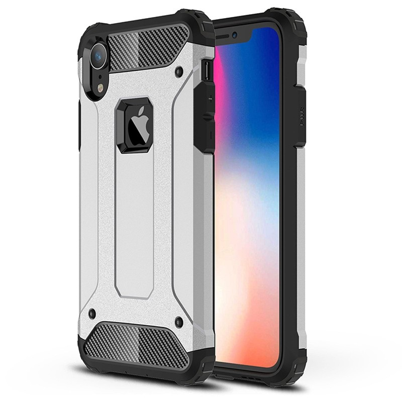 Mobiq Rugged Armor Case iPhone XR Silver 01