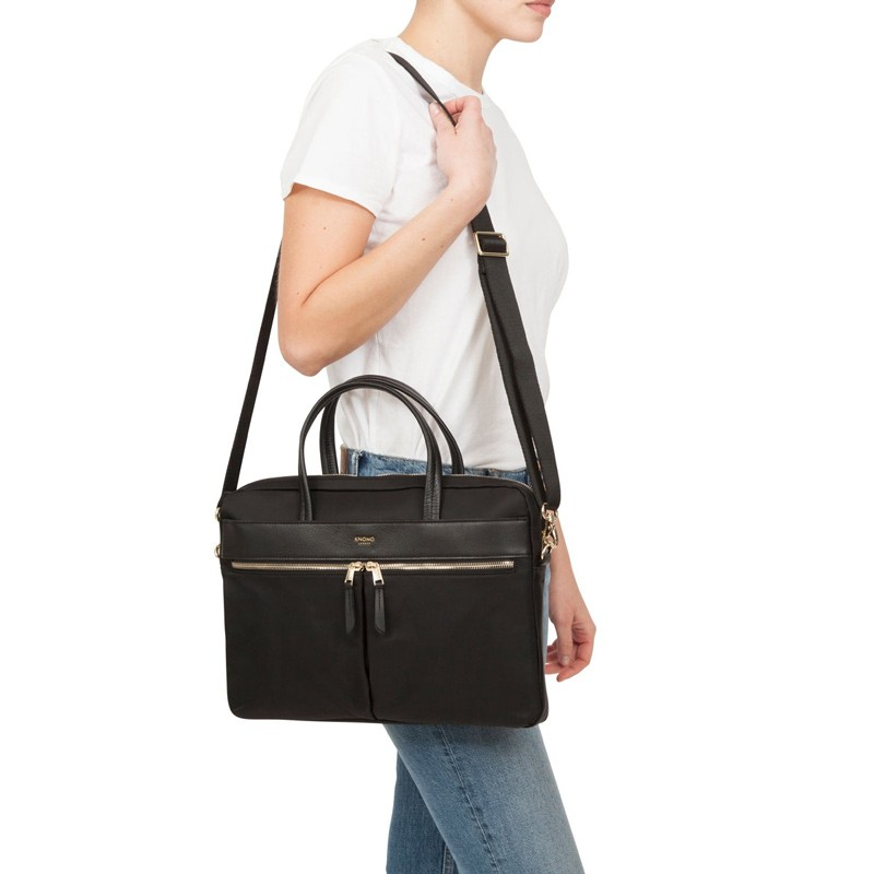 Knomo - Hanover 14 inch Slim Laptop Briefcase Black 07