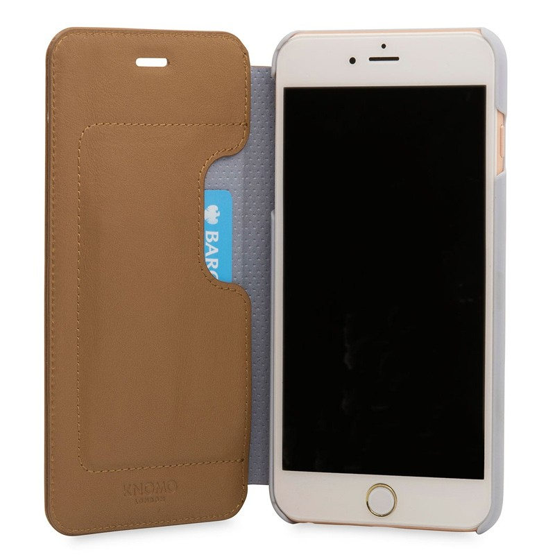 Knomo Leather Folio iPhone 7 Plus Caramel 04
