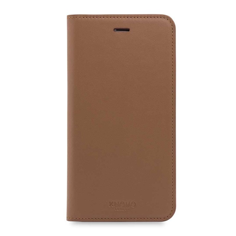 Knomo Premium Leather Folio iPhone 7 Plus Caramel 01