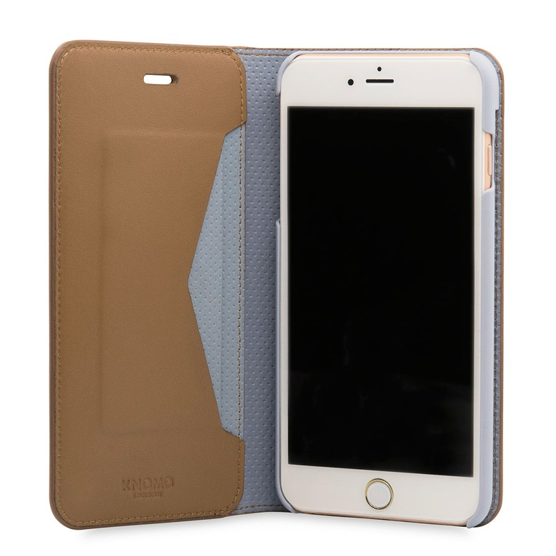 Knomo Premium Leather Folio iPhone 7 Plus Caramel 04