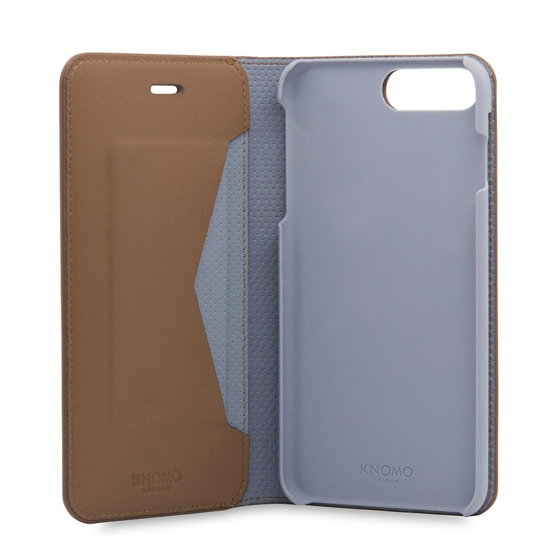 Knomo Premium Leather Folio iPhone 7 Plus Caramel 06