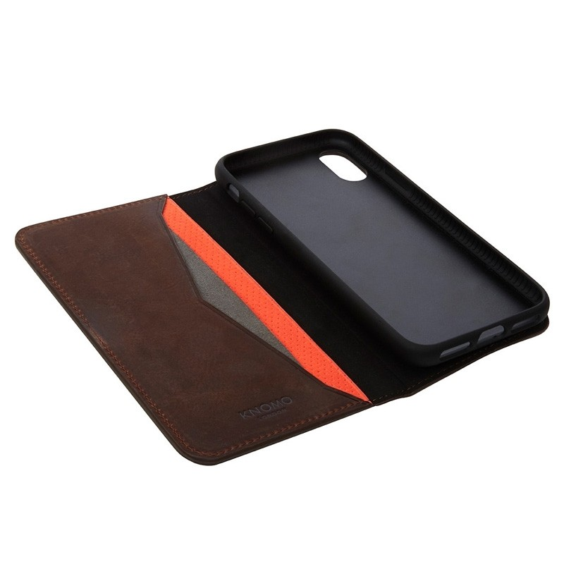 Knomo Premium Leather Folio iPhone X/Xs Bruin - 3