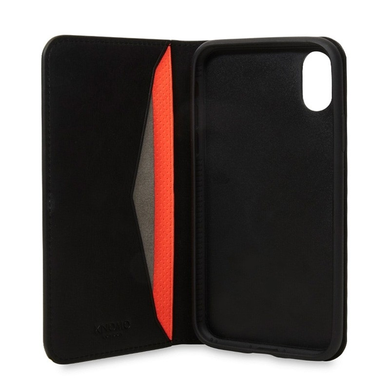Knomo Premium Leather Folio iPhone X/Xs Zwart - 1