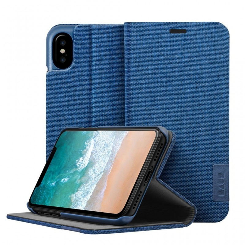 LAUT Apex Knit iPhone X/Xs Wallet Indigo Blue - 1