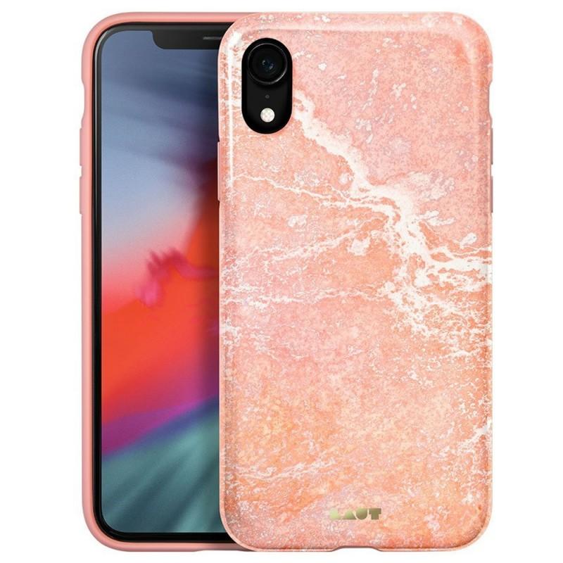 LAUT Huex Elements iPhone XR Hoesje Roze Marmer 01