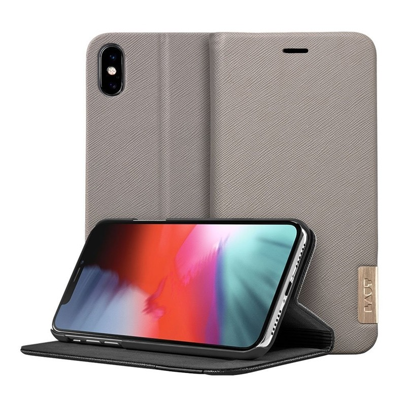 LAUT Prestige Folio iPhone XS Max Wallet Taupe 01