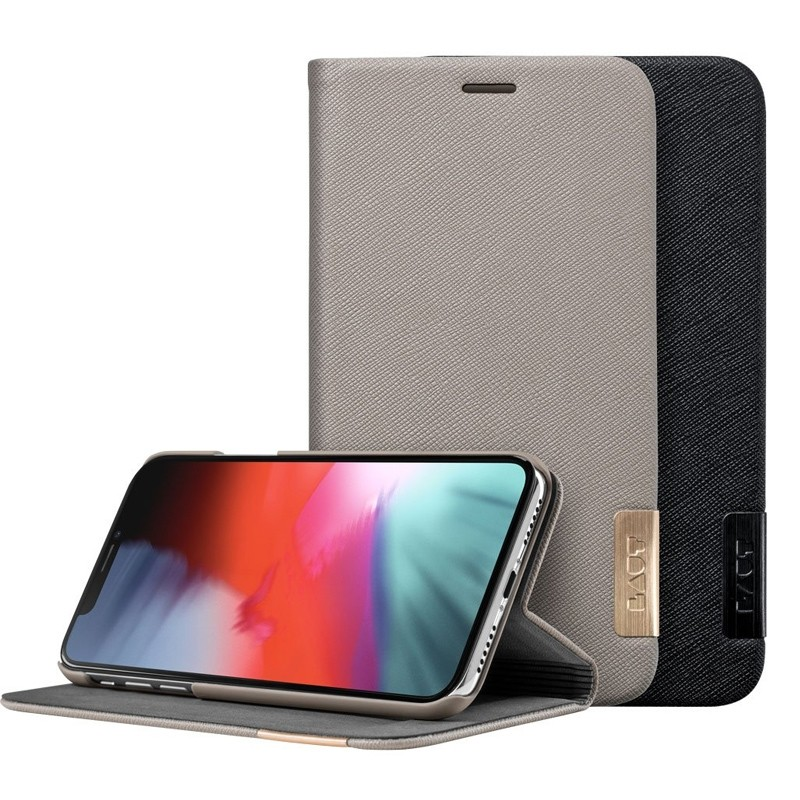 LAUT Prestige Folio iPhone XS Max Wallet Taupe 08