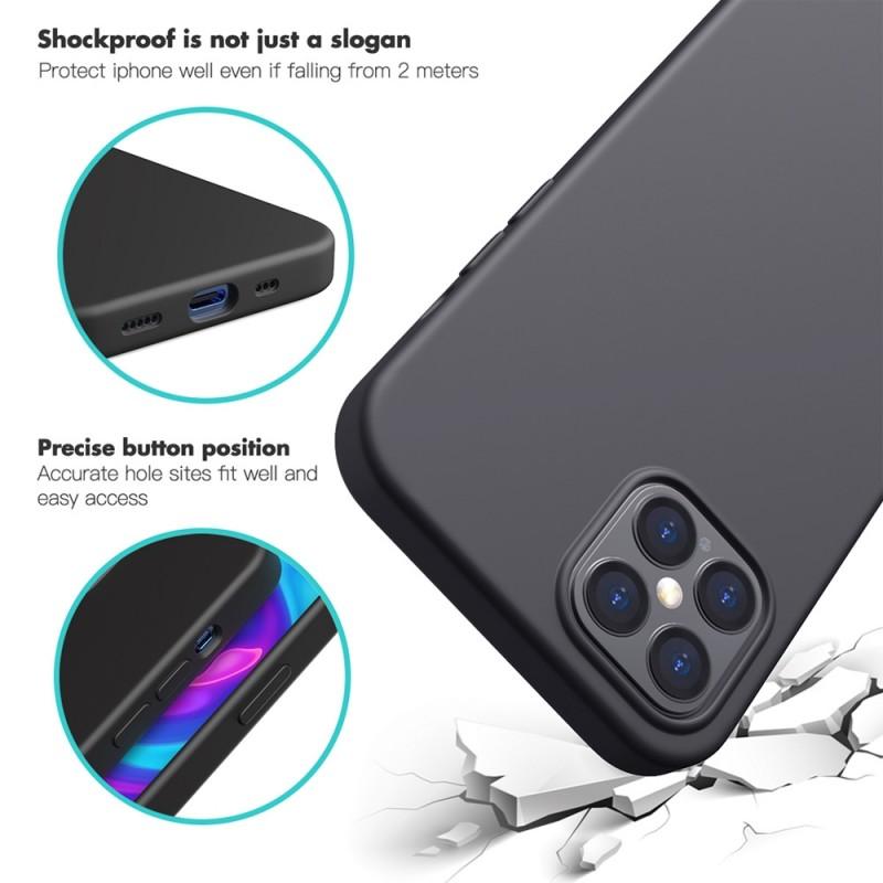 Mobiq Liquid Silicone Case iPhone 12 / 12 Pro Zwart - 6