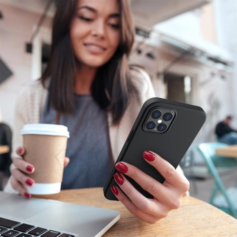 Mobiq Liquid Silicone Case iPhone 12 / 12 Pro Zwart - 4