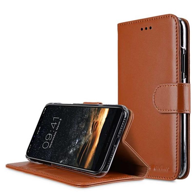 Melkco - Premium Leather Case voor iPhone X / XS Bruin 01