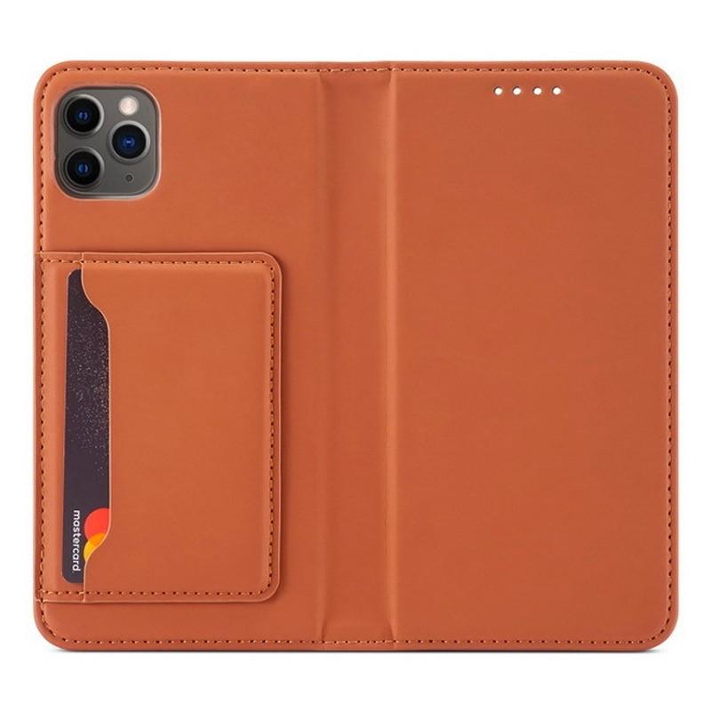 Mobiq Magnetic Fashion Wallet Case iPhone 12 Mini Bruin - 1