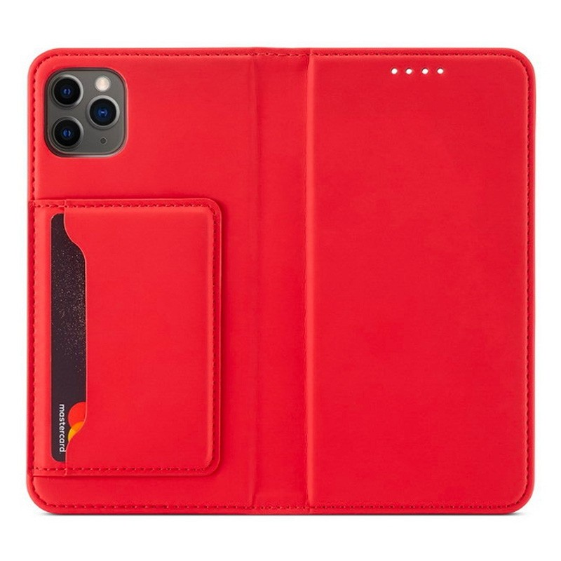 Mobiq Magnetic Fashion Wallet Case iPhone 12 Mini Rood - 1