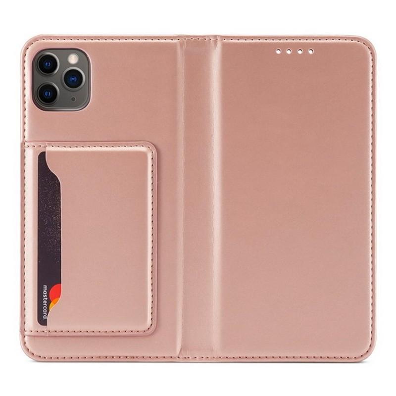 Mobiq Magnetic Fashion Wallet Case iPhone 12 Mini Roze - 1