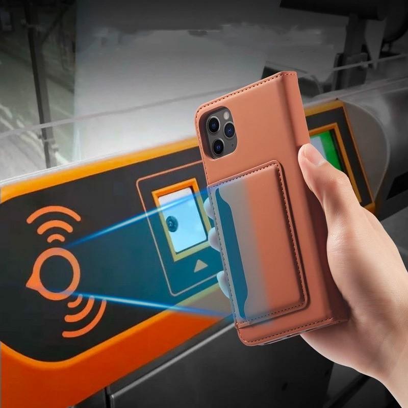 Mobiq Magnetic Fashion Wallet Case iPhone 12 Mini Bruin - 4