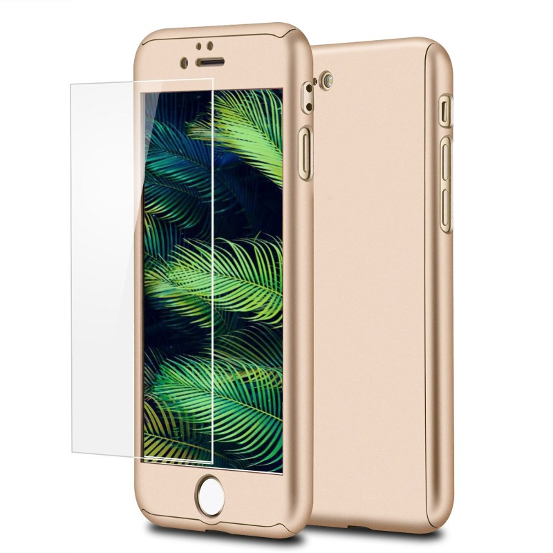 Mobiq 360 Graden Full Body Beschermhoes iPhone 8 Plus Goud - 1