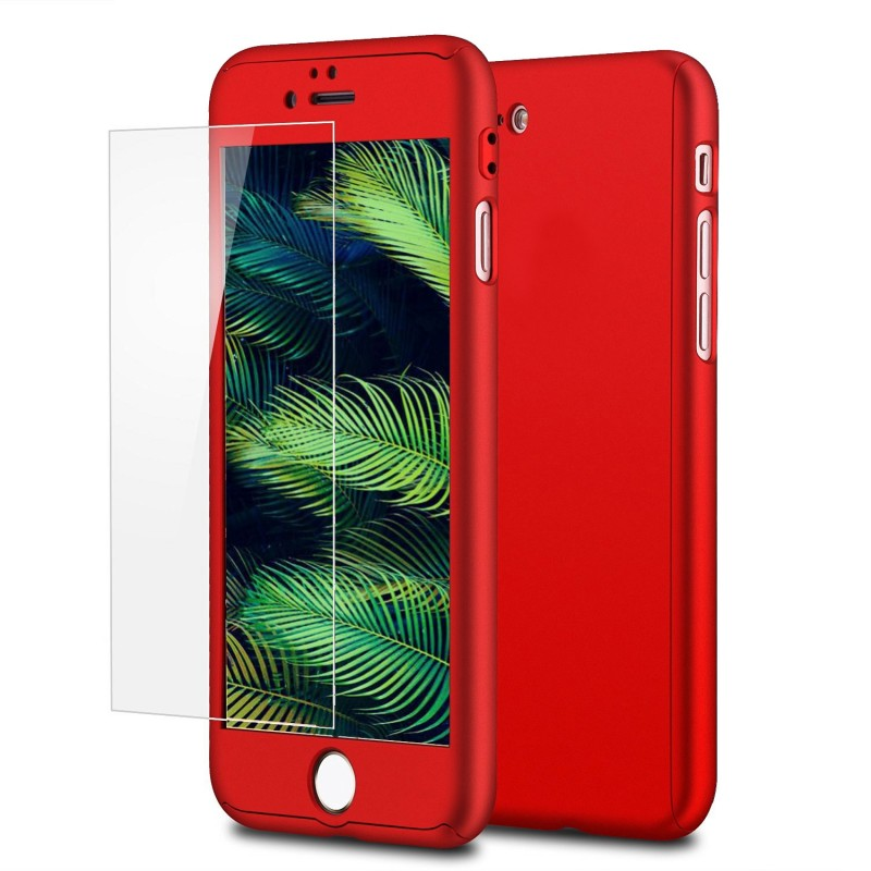 Mobiq 360 Graden Full Body Beschermhoes iPhone 8 Plus Rood - 1