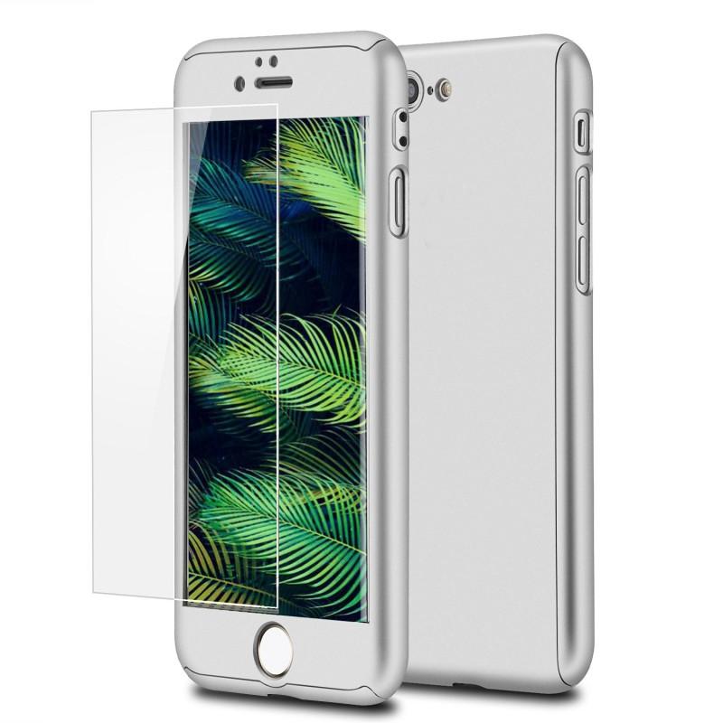 Mobiq 360 Graden Full Body Beschermhoes iPhone 8 Plus Zilver - 1