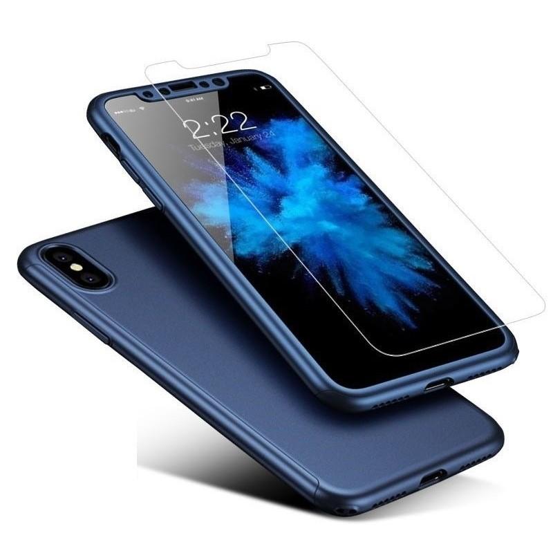 Mobiq 360 Graden Full Body Beschermhoes iPhone X/Xs Blauw - 1