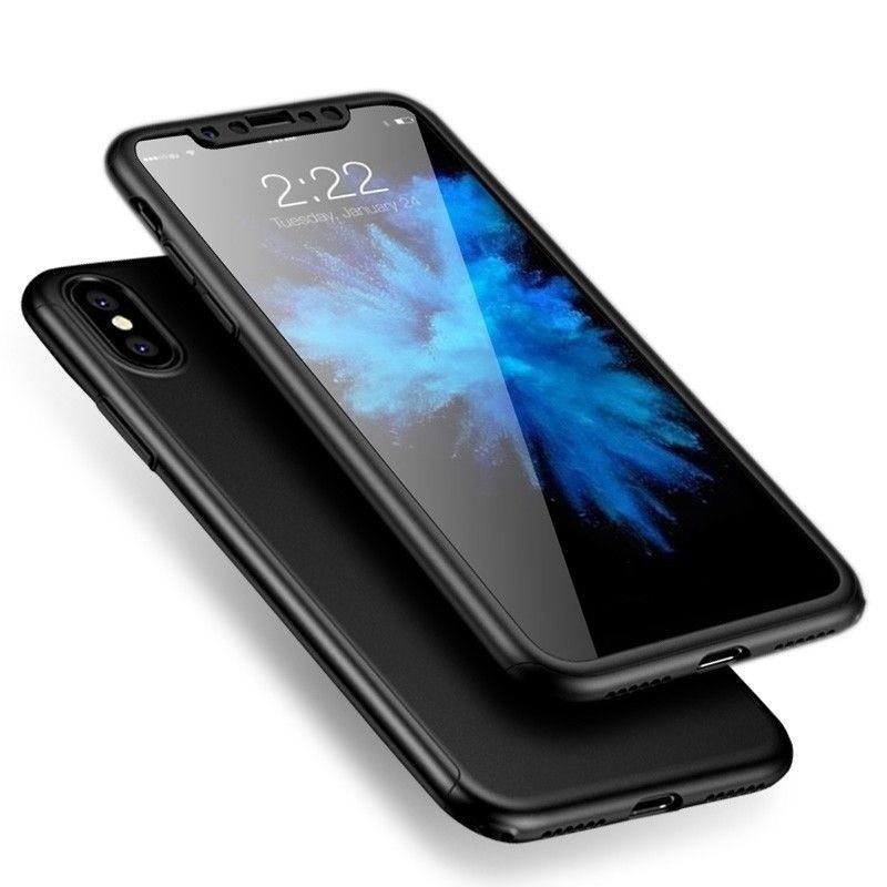 Mobiq 360 Graden Full Body Beschermhoes iPhone X/Xs Zwart - 1