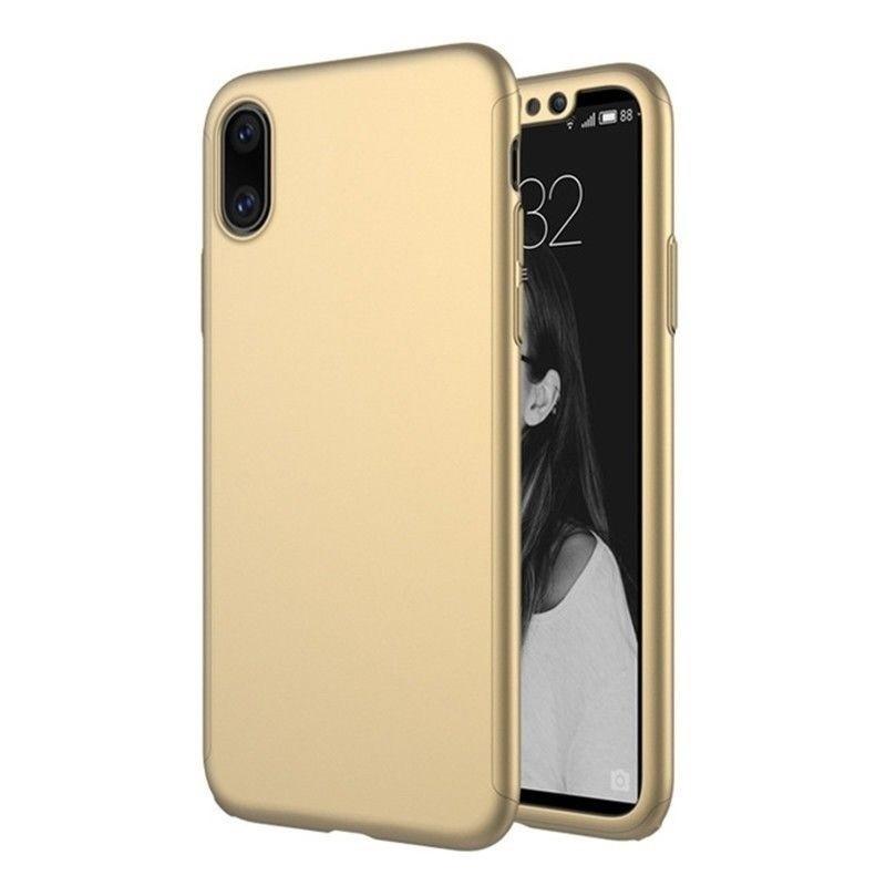 Mobiq 360 Graden Hoesje iPhone XR Goud 01