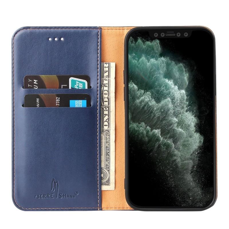 Mobiq Premium Lederen Portemonnee Hoesje iPhone 13 Mini Blauw - 1