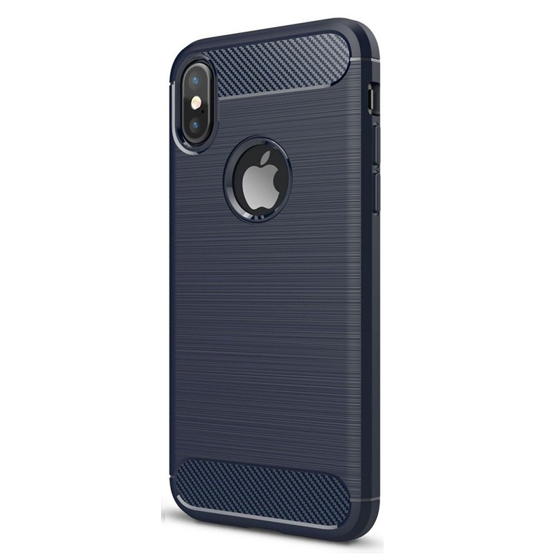 Mobiq Hybrid Carbon iPhone XS Max Hoesje Blauw 01