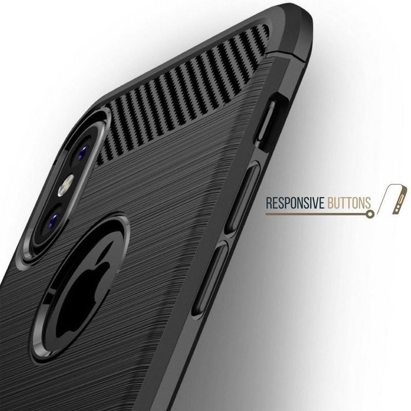 Mobiq Hybrid Carbon iPhone XS Max Hoesje Grijs 06