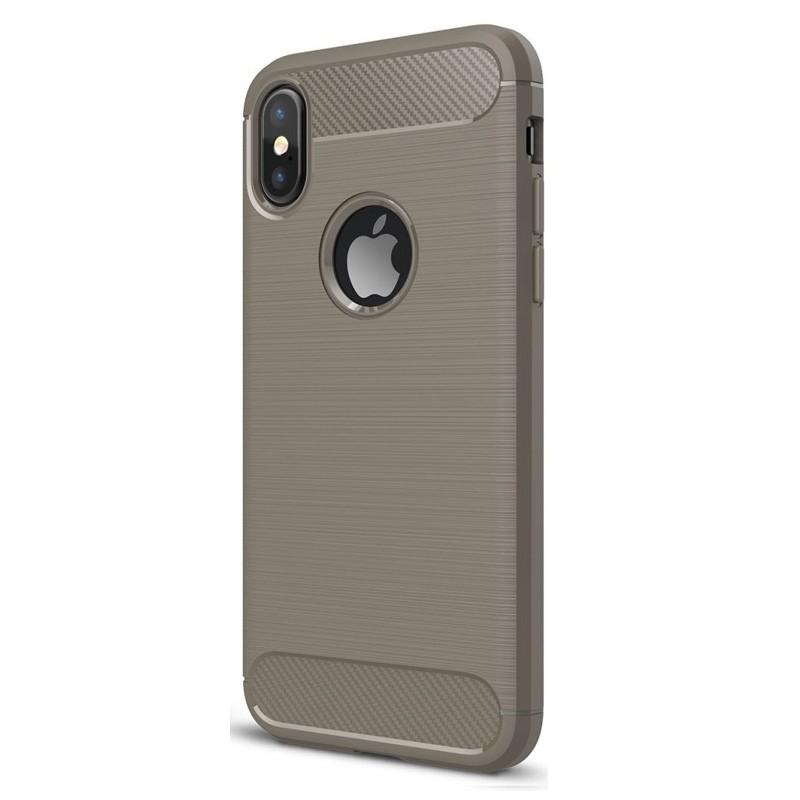 Mobiq Hybrid Carbon iPhone XS Max Hoesje Grijs 01