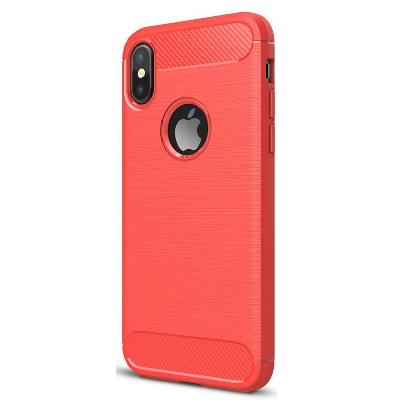 Mobiq Hybrid Carbon iPhone XS Max Hoesje Rood 01