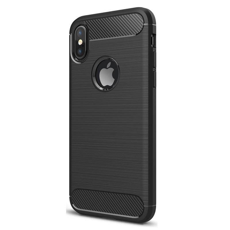 Mobiq Hybrid Carbon iPhone XS Max Hoesje Zwart 01