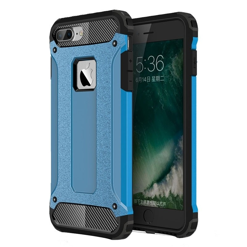 Mobiq - Rugged Armor Phone 8 Plus/7 Plus Hoesje Blauw - 1