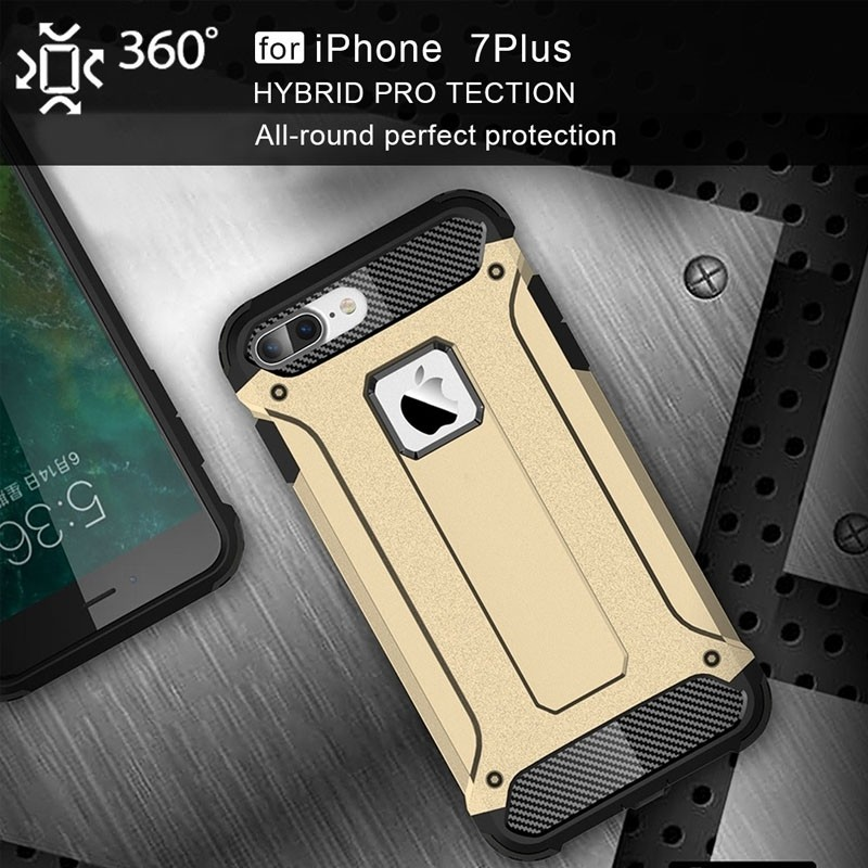 Mobiq - Rugged Armor Phone 8 Plus/7 Plus Hoesje Goud - 2