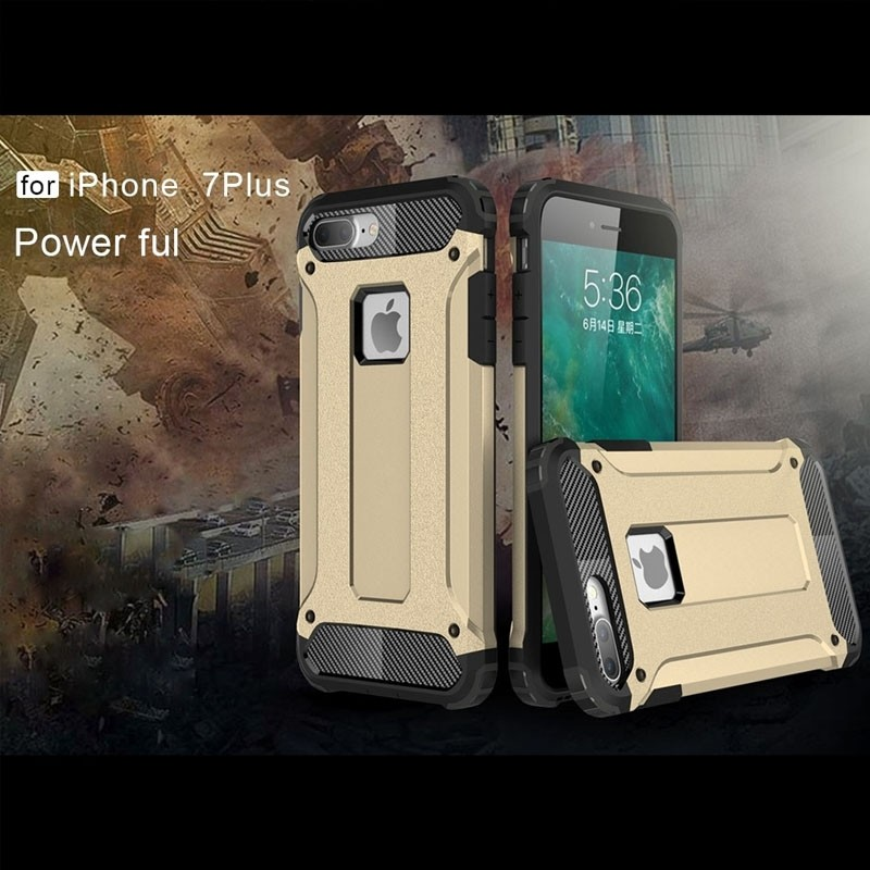 Mobiq - Rugged Armor Phone 8 Plus/7 Plus Hoesje Goud - 5