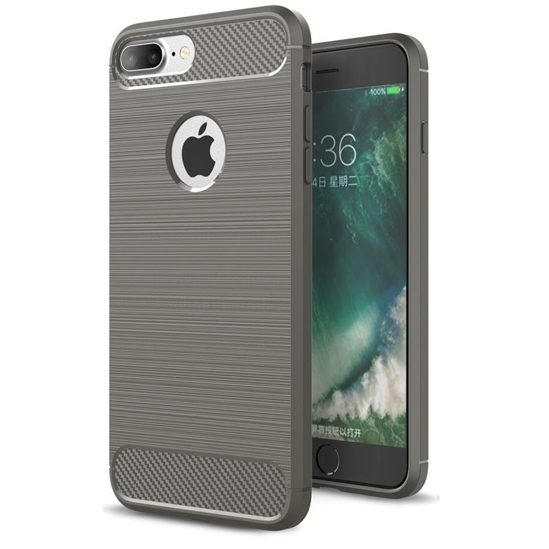 Mobiq - Hybrid Carbon iPhone 8 Plus / 7 Plus Hoesje Grijs - 1