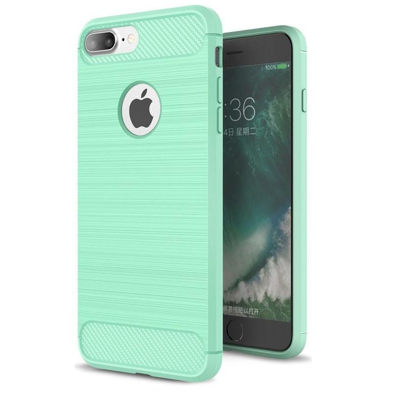 Mobiq - Hybrid Carbon iPhone 8 Plus / 7 Plus Hoesje Mint Groen - 1