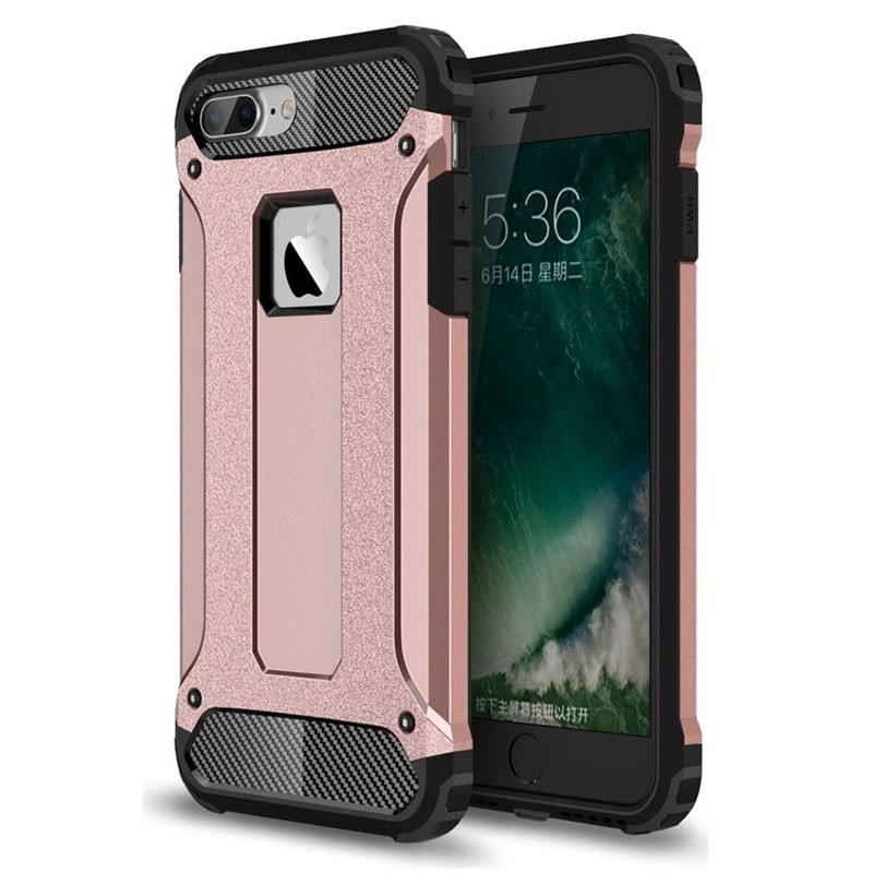 Mobiq - Rugged Armor Phone 8 Plus/7 Plus Hoesje Rose Goud - 1
