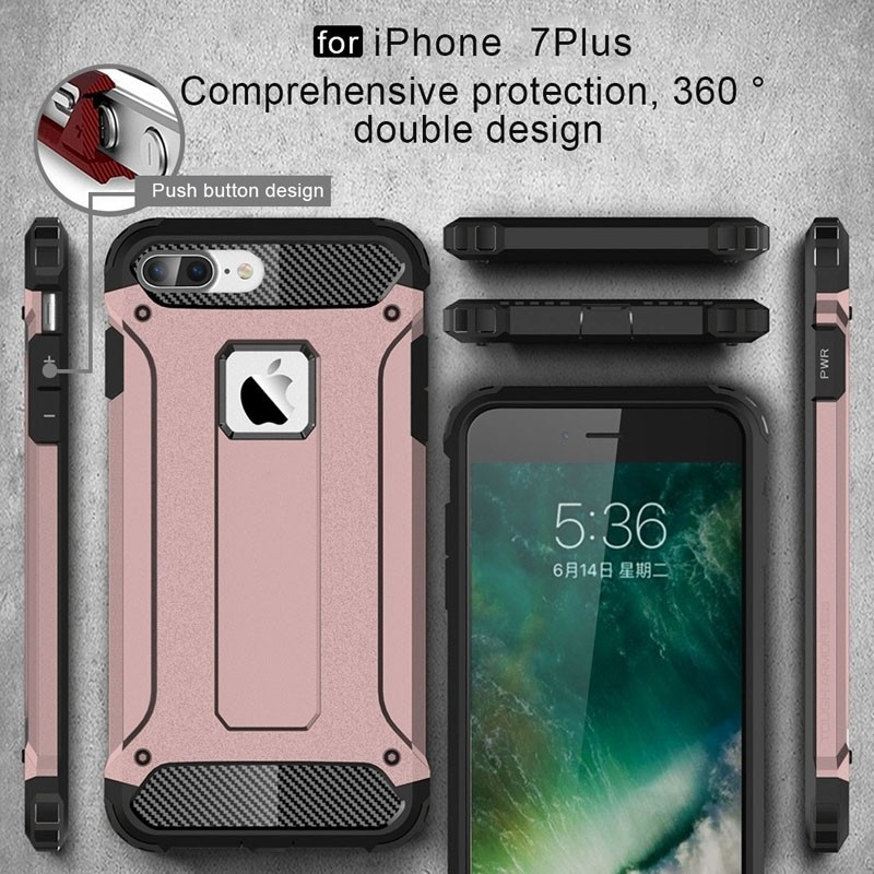 Mobiq - Rugged Armor Phone 8 Plus/7 Plus Hoesje Rose Goud - 3