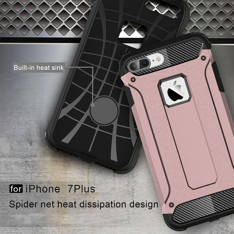 Mobiq - Rugged Armor Phone 8 Plus/7 Plus Hoesje Rose Goud - 4