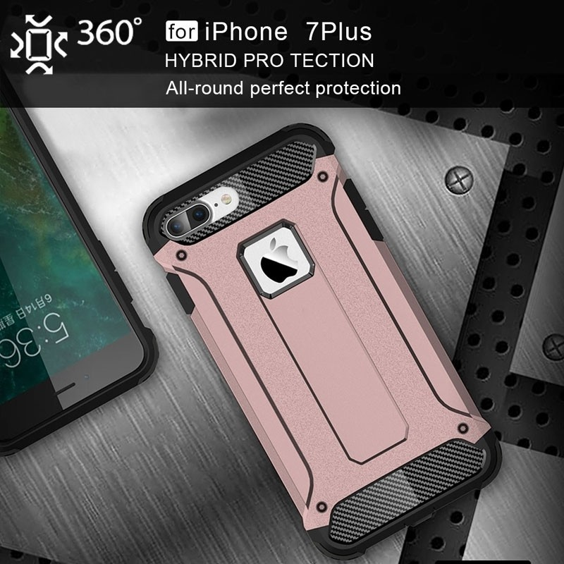 Mobiq - Rugged Armor Phone 8 Plus/7 Plus Hoesje Rose Goud - 7